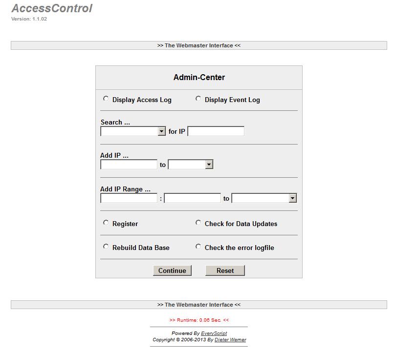 AccessControl Admin Menue